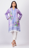 100% Heavy Lawn Ready To Wear Digital Kurti Straight shirt high v-neckline, straight full sleeves and pleated organza on the daaman.