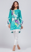 Ready to wear digital printed shirt. Round neckline with frayed trimmings. Straight shirt with lace on daman and loose fit sleeves with an organza bow knot.