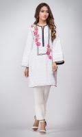 Floral Colored embrodiery on white pasted fabric with bell sleeves. Straight cut sleeves.