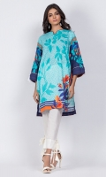 Ready to wear digital printed shirt. Boat neckline with a v-cut with tassel embellishedsleeves.Straight cut shirt.