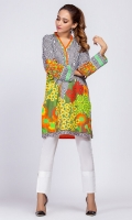 100% Lawn Ready To Wear Digital Printed Shirt.V neckline with pipine. Straight shirt with straight full sleeves.