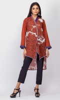 - Digital printed kurti  - Flap cut, high low kurta  -Full sleeves with fabric pleats