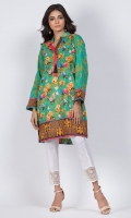 - Digital printed kurti  - Straight cut kurta  -High collar V neckline with tassle  - Full straight sleeves