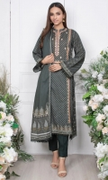 - 1.9mtr Lawn Digital Printed Shirt (Wider Width)  - 2.5mtr Lawn Digital Printed Dupatta  - 2mtr Textured Pants (Wider Width)  - Embroidered Shirt