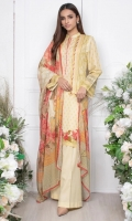 - 1.9mtr Lawn Digital Printed Shirt (Wider Width)  - 2.5mtr Silk Dupatta  - 2mtr Textured Pants (Wider Width)  - Embroidered Shirt