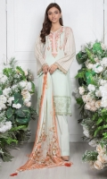 - 2.5mtr Lawn Shirt (Wider Width)  -2.5mtr Digital Printed Chiffon Dupatta  - 2mtr Textured Pants (Wider Width)  - Embroidered Shirt