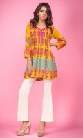 100% Lawn ready to wear digital shirt V neckline with slit Peplum shirt and embroidered sleeves