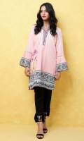 100% Cotton satin ready to wear digital shirt Overlapped V-neckline band  Straight cut and peplum sleeves with lace