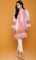 Ban Collar Pink Printed Kurta With Embroidered Neck Line & Sleeve Motifs