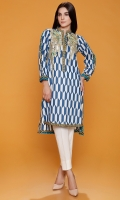 Ban Collar Blue & White Printed Kurta With Embroidered Motifs At Front