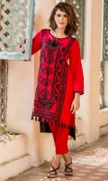 Round Neck Fully Embroidered Long Shirt With Black Tassels Details Through Out Front Border