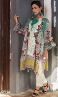 Round Neck Embroidered Shirt With Printed Front & Back Along With Resham Neck Dori