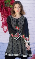 Round Neck Fully Embroidered Aysmmetrical Shirt With Embroidered Sleeve Borders & Resham Naeck Dori