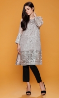 Round Neck Fully Embroidered Raw Silk Shirt With Fancy Buttons Details Trouser & Net Dupatta Also Added