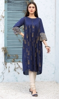 Stitched Lawn Frock Boat Neck Screen Printed Front Beautified With Pleats Work & Fancy Buttons Sleeves With Embossed Printing Plain Back