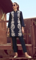 2 Pc Sticthed Dress Fully Embroidered Front & Neck Line Buttons.Linen Trouser With Pleats Work