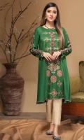 Stitched Linen Frock Boat Neck Embroidered Front Embroidered Sleeves Plain Back
