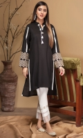 Stitched Khaddar Kurta Plain Front with O White Tassels Emroidered Sleeves Plain Long Back