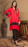 Stitched Linen Shirt V Neck With Black Tassels Embroidered Organza Patch At Daaman Sleeves With Embroidered Organza Patch Plain Back