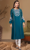 Stitched Linen Frock Embroidered Front Embroidered Sleeves Plain Back