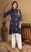 Stitched Embroidered Kurta Ban Collar Embroidered Front With Neck Line Buttons EmbroideredSleeves Plain Back