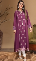 Stitched Linen Frock Boat Neck With Resham Dori Embroidered Front Embroidered Sleeves Plain Back