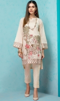 Stitched Lawn Shirt Round Neck With Slit Embroidered Front Embroidered Sleeves Plain Back