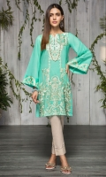 2 Pc Stitched Dress Boat Neck With Slit Embroidered Front Embroidered Sleeves Plain Back Skin Color Trouser