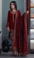 Embroidered Velvet Stitched 3 Piece Suit