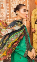 Front: 1.25 Yards Fully Embroidered with Border Patch Back: 1.25 Yards Embroidered Sleeves: 0.75 Yards Embroidered Sleeves Trouser: Cambric Plain Dupatta: 2.8 Yards Silk Printed
