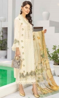 2.5 meters Embroidered Jacquard lawn shirt 0.5 meter Jacquard lawn embroidered sleeves 2.5 meters plain trouser 2.5 meters chiffon Dupatta