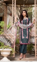 Lawn Embroidered Front  Printed Back & Sleeves  China Crinkle Dupatta  Dyed Trouser