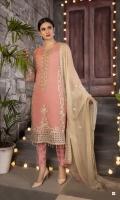 Heavy Embroidered Chiffon Shirt Embroidered Chiffon Dupatta Dyed Bottom