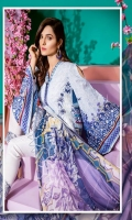 Digital Print Embroidered Front: 1.25 mtr Digital Print Back & Sleeves (Lawn) 1.75 mtr Digital Print Chiffon Dupatta: 2.50 mtr Jekard Trouser: 2.50 mtr Embroidered Trouser Patch: 1pcs