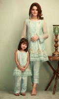 Shirt: Self printed zari net Color: Light blue Pant: Pure cotton silk Color: Light blue Dupatta: Chiffon plain
