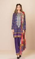 Shirt: 2.75 Mtr Lawn Digital Print Embroidered Dupatta: 2.5 Mtr Crinkle Digital Print Trouser: 2.5 Mtr Dyed Cotton