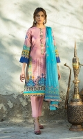 Front: 1.25 Mtr Lawn Digital Print Back: 1.25 Mtr Lawn Digital Print Sleeves: 0.65 Mtr Lawn Digital Print Dupatta: 2.5 Mtr Silk Lawn Embroidered Trouser: 2.5 Mtr Dyed Cotton