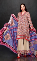 Shirt: 2.75 Mtr Arish Fancy Staple Digital Print Dupatta: 2.5 Mtr Viscose Plain Digital Print Trouser: 2.5 Mtr Dyed Plain