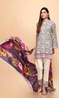 Shirt: 2.75 Mtr Fancy Slub Khaddar Digital Print Dupatta: 2.5 Mtr Fancy Slub Khaddar Digital Print Trouser: 2.5 Mtr Dyed Plain