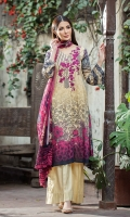 Piece: 3Pcs Shirt Front: 1.25 Mtr Lawn Embroidered Digital Print  Shirt Back: 1.25 Mtr Lawn Digital Print  Sleeves: 0.65 Mtr Digital Print Trouser: 2.5 Mtr Dyed Plain Dupatta: 2.5 Mtr Krinkle Digital Print