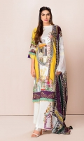 Front: 1.25 Mtr Lawn Digital Print Back: 1.25 Mtr Lawn Digital Print Sleeves: 0.65 Mtr Lawn Digital Print Dupatta: 2.5 Mtr Bamber Silk Digital Print Trouser: 2.5 Mtr Dyed Cotton+Embroidery Patch
