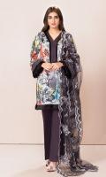 Shirt: 2.75 Mtr Lawn Digital Print Dupatta: 2.5 Mtr Doria Lawn Embroidered Trouser: 2.5 Mtr Dyed Cotton