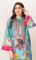 Front: 1.25 Mtr Lawn Digital Print Back:1.25 Mtr Lawn Digital Print Sleeves: 0.65 Mtr Lawn Digital Print Trouser: 2.5 Mtr Cotton Embroidered