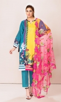 Front: 1.25 Mtr Lawn Digital Print Back: 1.25 Mtr Lawn Digital Print Sleeves: 0.65 Mtr Lawn Digital Print Dupatta: 2.5 Mtr P-Net Embroidered Trouser : 2.5 Mtr Dyed Cotton + Embroidered Patch