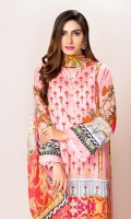 Front: 1.75 meter lawn digital print Back: 1.25 meter lawn digital print Sleeves: 0.65 meter lawn digital print Dupatta:2.5 meter bamber silk digital print Trouser: 2.5 meter dyed cotton + embroidery patch