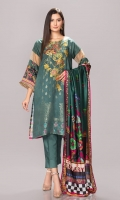 Front: 1.25 Mtr Jacquard Viscose Embroidered Back: 1.25 Mtr Viscose Digital Print Sleeves: 0.65 Mtr Viscose Digital Print Dupatta: 2.5 Mtr Viscose Net Shawl Digital Print Trouser: 2.5 Mtr Dyed Viscose