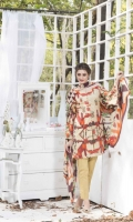 3 Piece Front 1.25 mtr Embroidered Print Back 1.25 mtr Print Sleeves 0.65 mtr Print Dupatta 2.5 mtr Krinkle Print Trouser 2.5 mtr Dyed Plain