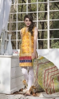 3 Piece Shirt 2.75 mtr Embroidered Print Dupatta 2.5 mtr Krinkle Print Trouser 2.5 mtr Dyed Plain