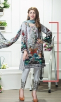 Shirt:  2.75 Mtr Lawn Digital Print  Sleeves:  0.65 Mtr Digital Print  Trouser:  2.5 Mtr Dyed Plain Dupatta:  2.5 Mtr Krinkle Digital Print