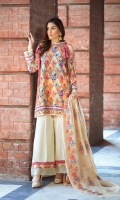 Shirt: 2.75 Mtr Karandi Digital Print Dupatta: 2.5 Mtr Arkandi Embroidered Trouser: 2.5 Mtr Karandi Dyed Plain
